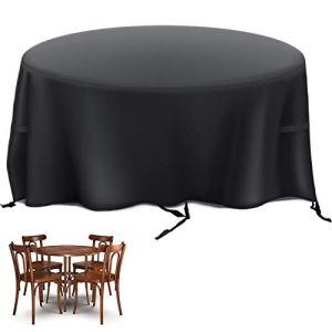 Velway Housse pour Table de Jardin Bâche de Protection Table Exterieur Ronde Meuble Imperméable Oxford 420D Iimperméable Anti-poussière UV pour Mobilier de Jardin Table Ø128×71 cm Noir