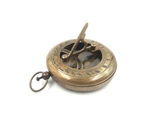 Vimal Nautical Boussole à cadran solaire en laiton finition antique 7,6 cm