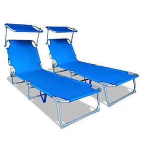 VOUNOT Lot de 2 Chaise Longue Bain de Soleil avec Pare Soleil   Transat Pliable avec Parasol   Bain De Soleil inclinable en Polyester   Charge Max 110KG   Chaise Longue réglable