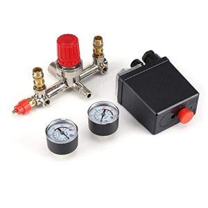 YUQIYU Commutateur de contrôle de pression, contrôle de pression du compresseur d'air Commutateur Régulateur Valve 90-120 PSI avec double jauges