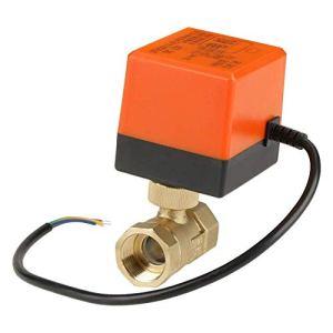 YUQIYU Motorisé actionneur à boisseau sphérique, laiton motorisé robinet à tournant sphérique DC12V G3 / 4″ Way DN20 2 Valve for systèmes de plomberie Système de climatisation
