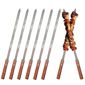 ZEEREE 8 Pièce Barbecue Brochettes, 39,5 cm Brochettes à brochettes en Acier Inoxydable Acier Inoxydable Barbecue Barbecue Sticks à en Acier Idéal pour brochettes de Viande ou légumes