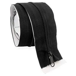 Zelsius Fermeture éclair autocollante   215 x 7 cm – Noir   Fermeture éclair des deux côtés pour porte anti-poussière, anti-poussière.