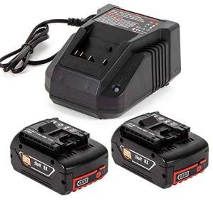 2 batteries de rechange au lithium 18 V 5,0 Ah avec chargeur rapide 3 A pour Bos-ch 18V BAT609 BAT609G BAT618 BAT618G BAT619 BAT619G BAT610G 2607336169 2607336170