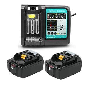 2 Pièces TPLS 18V 4.0Ah Li-ION Batterie de Rechange avec Chargeur DC18RC pour Makita 18V BL1860 BL1850 BL1840 BL1830 BL1820 BL1815194205-3 194309-1 LXT400
