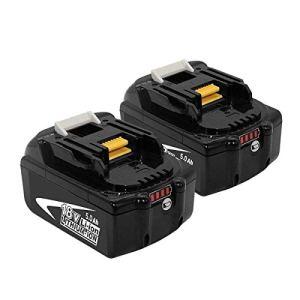 2X BL1850B 18V 5.0Ah Batterie Remplacement pour 18V BL1850 BL1830B BL1840B BL1850B BL1860B BL1830 BL1840 BL1850 BL1860 BL1815 BL1835 Outils électriques sans fil