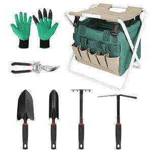 Achort Siège à outils, tabouret pliable pour le jardinage, le camping en plein air, tabouret de jardin portable avec sac de rangement et poches