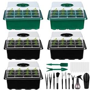 Bac à Semis, Efanty 5 Pack Mini Serre avec Outils de Jardin, 12 Trous Plateau de Semis avec dôme d'humidité réglable, Idéal pour Germination Graines et Culture Plantes