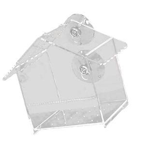 Balacoo Mangeoire à Oiseaux Acrylique Étanche Fenêtre Transparente Mangeoire à Oiseaux avec de Fortes Ventouses Nichoirs Fournitures pour Animaux de Compagnie pour Jardin Cour Décoration