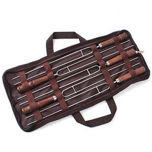 Bayda Lot de 5 fourchettes de barbecue en acier avec manche en bois et manche en U