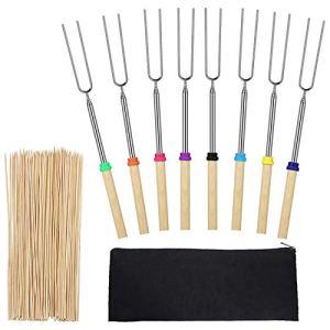 Bayda Lot de 8 fourchettes à rôtir pour guimauve avec 100 brochettes en bambou