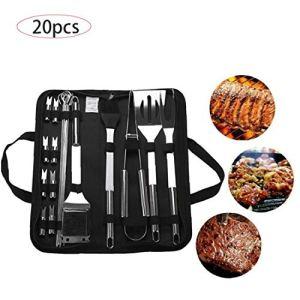 Bbq Tool Set 20 Pièces En Acier Inoxydable Barbecue Fourchette Clamp Brosse D'accessoires Barbecue Grill Ustensiles Pour Pique-nique Et Party