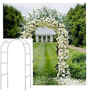 Blanc 2.4M Arche de jardin en métal Arbor Rose plante grimpante Archway mariage Party Decoration Articles ménagers à usage intérieur et extérieur