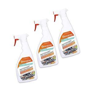 BRASERO – Kit Spray Nettoyant Dégraissant Intensif – Lot de 3 Spray Nettoyant – Jusqu'à 35 nettoyages par Spray – Idéal pour Barbecues et Planchas