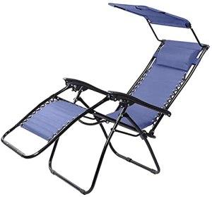 BSQT Chaise inclinée à la gravité de la gravité Robuste avec Dossier de Dossier de Dossier, chaises à Bascule de Patio Pliante avec poignée Facile à Transporter, Support 150kg (Couleur: Bleu)