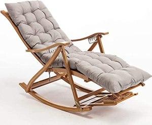 BSQT Chaises à Bascule de Jardin avec Coussinet, Chaise extérieure en Bambou pour Chambre à Coucher, chaises Longues, Chaise inclinable avec Dossier réglable et Repose-Pieds pour Salon (Color : Grey)