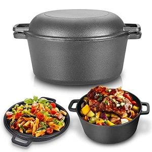 Casserole en fonte, 2 en 1 casserole de 4,5 l Réchaud combiné double Dutch Oven avec couvercle à double fonction de marque / poêle à frire pour cuisine camping jardin cuisson barbecue 26 * 26 * 12 cm