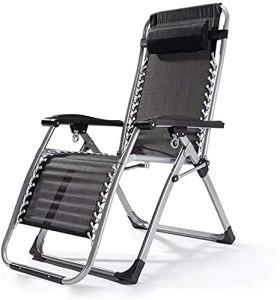 Chaise de terrasse Pliante Respirante Chaise de Jardin avec chaises de Jardin avec Dossier Fauteuil Beach Beach Chaise Longue Loisirs Chaise Enceinte Femme de Femme inclinable (Couleur: Noir)