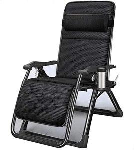 Chaises à Bascule de Jardin Pliable de Jardin avec Coussin Respirant, zéro gravité Pliante Pause déjeuner lit bébé Balcon Loisir Dossier Chaise fraîche (Color : Black)