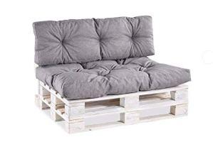 Coussin matelassé pour palette / coussin de siège / de dossier en polypropylène Sitzkissen 120×80 gesteppt gris
