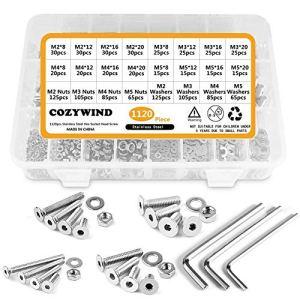 cozywind Classification de lacier 1120 PZ Viti inox m2 m3 M4 M5 Viti a svasata Head Square bullet and Key wheel with Anti – oxidation Data brugola