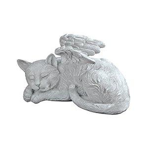 Design Toscano Mémorial Chat Pet Ange Statue Honorifique Pierre Tombale, 25.5 cm, polyrésine, pierre antique