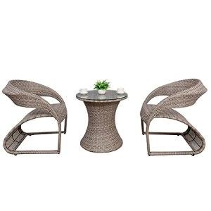 Ensemble de chaises en rotin de Loisirs en Trois pièces pour Balcon à la Maison, Ensemble de chaises en rotin de Jardin extérieur créatif(Color:Gray)