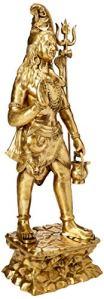 Exotic India Grande Figurine de Lord Shiva avec Kamandalu, Doré, Taille: 76,2x 198,1x 50,8cm