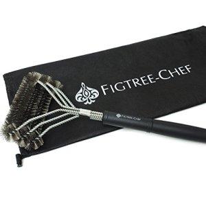 Figtree-chef Grill Brosse–sans danger pour les barbecues en plein air–3en 1Motif avec large Tête coudée pour une plus grande Couverture