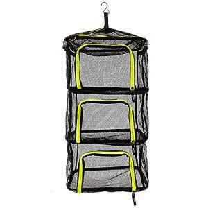 Filet Sec de Camping Portable, Pliant 3 Couches suspendues en Maille pour Aliments, étagère pour séchoir à Vaisselle, Plage extérieure, Sac de Pique-Nique, étagère, Panier de Rangement, Vaisselle
