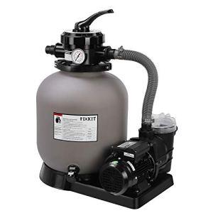 FIXKIT Pompe Filtre à Sable, Pompe de Piscine Filtre à Sable 400 W, Débit 10m³ / h, Volume du Réservoir jusqu'à 25 KG de Sable, Vanne 4 Voies avec Manomètre, Buse 32/38 mm, Gris