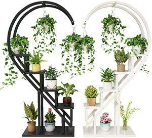 FMXYMC Ensemble de Support de Plante en Forme de Coeur créatif, 2 pièces, décoration de Support de Fleur Mural TV, étagère multifonctionnelle de Salon, pour la Maison/l'entreprise,Black and White
