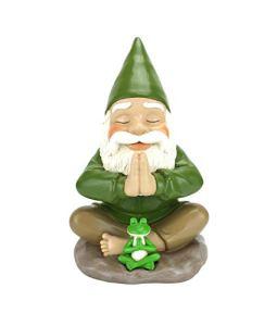 GlitZGlam Nain Zen et Nain Grenouille – Namaste– la tranquillité et la sérénité pour Votre Jardin des fées et Vos Nains de Jardin Un Nain de Jardin Miniature Grand Format de 23,5 cm de Haut