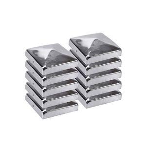 H2i Lot de 10 capuchons de poteaux en acier inoxydable 71 mm / 91 mm / 101 mm / 111 mm / 121 mm / 146 mm / 161 mm / 201 mm (121 x 121 mm)