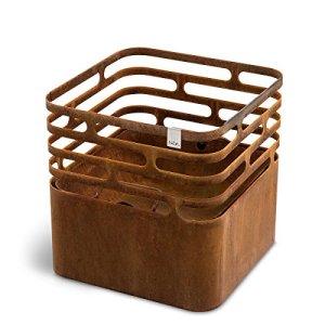 höfats – CUBE brasero – comme foyer, gril, tabouret et table – pour jardin et terrasse – Acier Corten