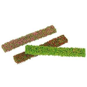 Housoutil 3 Pièces Miniature Fleur Cluster Fleur Végétation Groupes Herbe Touffes Mini Arbustes Clôture DIY Miniature pour Train Paysage Ferroviaire Paysage Sable Militaire Mise en Page