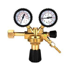 HUKOER Détendeur de gaz, réducteur de pression universel avec dioxyde de carbone Argon et dioxyde de carbone, surface en laiton,Convient à tous les gaz standard courants Argon / CO2 / Gaz inerte