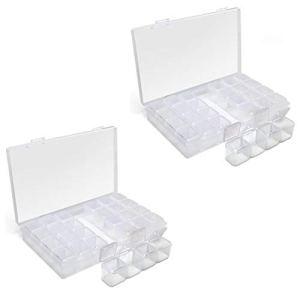 iGadgitz Home U7113 Boîte de Rangement Plastique (28 Pots) Diamond Painting Boîte à Bijoux, Broderie -Transparent -2 Boîtes