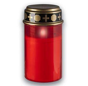 KELOPEST® Lanterne funéraire LED rouge avec batterie et durée d'éclairage de 6 mois – Bougie funéraire LED avec effet vacillant réaliste.