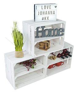 Kistenkolli Altes Land Ensemble de 3 caisses en bois blanc avec planche intermédiaire – Rangement pour des pommes, des bouteilles de vin, des chaussures – 50 x 30 x 40 cm (blanc avec insert long)