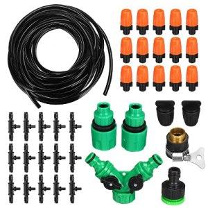 Kit d'irrigation goutte à goutte 15 m Système d'irrigation automatique pour serre pelouse patio paysage parterre de fleurs