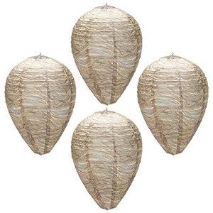 Leurre de nid de guêpe,4pcs Hanging Fake Wasp Nest Naturel Faux Nid de Guêpe Répulsif Imperméable Coffre-fort Faux Piège Non-Toxique Papier Dissuasif Frelons Faux Nid pour Maison Jardin(papier)