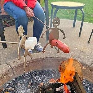 LIZAKI Bâtons drôles de Hot-Dog/Guimauve pour feu de Camp, brochettes de Barbecue en Forme d'hommes de nouveauté, fourchettes de Barbecue d'artisanat en métal drôle pour feu de Camp