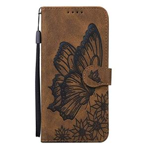 Miagon Flip Coque pour Xiaomi Redmi Note 10 Pro,PU en Cuir Cover Magnétique Portefeuille Étui Housse avec Papillon Désign Stand Porte Cartes de Crédit,Marron