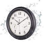 montre d'extérieur étanche de 18 pouces avec combinaison de température et d'humidité – Style vintage – Fonctionne à piles – Pour salon, terrasse, jardin, décoration de piscine – Métal – Noir mat
