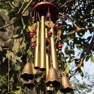 MYMM Carillon du Vent, Vous Souhaite la prospérité: Chinois Traditionnel Incroyable 4 Tubes 5 Cloches et Base en Bois Bronze Windchime pour Patio extérieur, Jardin et décoration intérieure (1#)