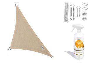 nesling Compleet pakket Coolfit Tissu d'ombrage waterdoorlatend Triangle 5x5x7,1 Marraine Ivoire met RVS Bevestigingsset en buitendoekreiniger  