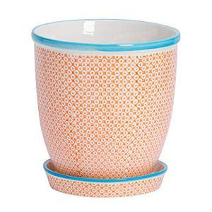Nicola Spring Pot de Fleur en Porcelaine – avec Soucoupe – Motif Orange/Bleu – 20 cm