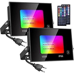 Olafus 2 Projecteur LED RGB 15W, 20 Couleurs 4 Modes IP66 Spot Multicolor avec Télécommande à 44 Touche, Lampe Ambiance Multicouleur Atténués, Eclairages Intérieur Extérieur pour Bistro Maison Fête