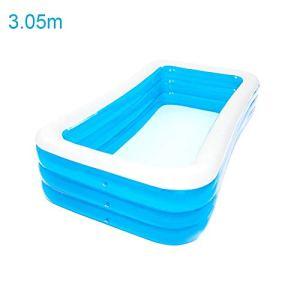 Piscine gonflable pour les familles au centre de la piscine, piscine gonflable pour enfants, PVC épais et respectueux de l'environnement pour enfants et adultes, intérieur et extérieur, bleu, disponible en plusieurs tailles 3,05-3,18 m + 3 couches.